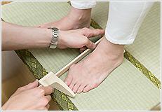 足の長さ、足の幅を計測